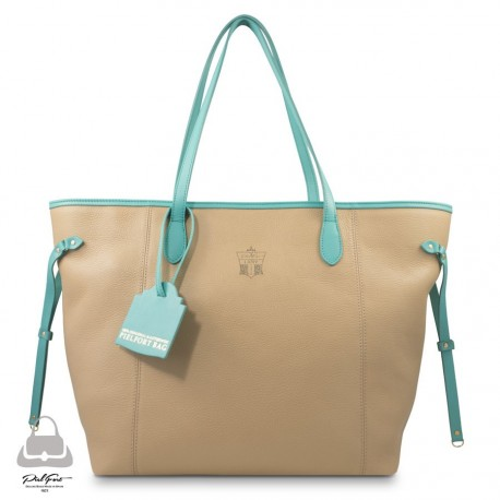Bolso Madison Ave. PielFort Shopping Bag Crema / Turquesa