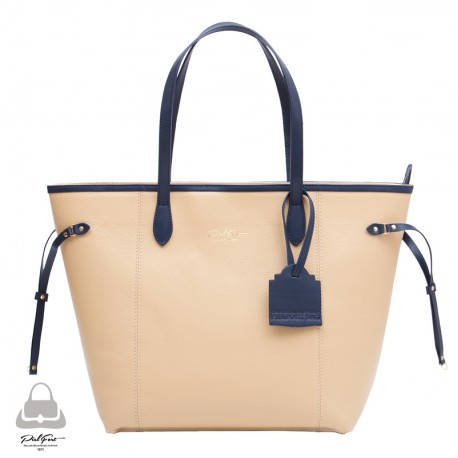 Bolso Madison Ave. PielFort Shopping Bag Beige / Azul marino
